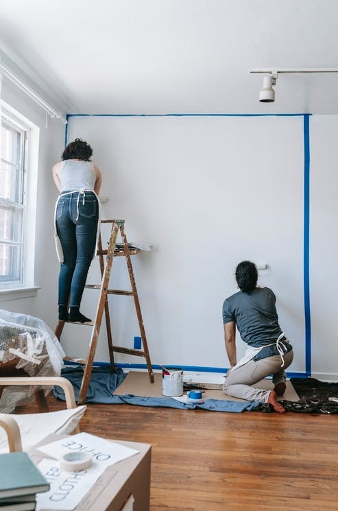 Applying Blue Tape When Painting